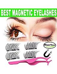 3D Magnetic Eyelashes Natural Look,BeautyShow Best Fake Eyelashes with False Lashes Applicator, Lightweiht Handmade Eyelashes Extensions(2Pairs/8Pcs)