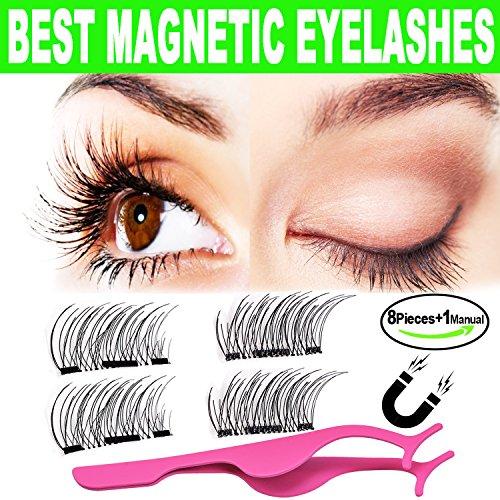 Ciglia magnetiche 3d, beautyshow ciglia finte magnetiche naturali, estension ciglia professionali leggere fatte a mano (2 coppie/8 pezzi)