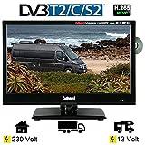 Gelhard GTV-1662 LED DVD 15,6 Zoll 40cm Fernseher Full-HD, DVB-S / S2 -T / T2 12/24 / 230 Volt