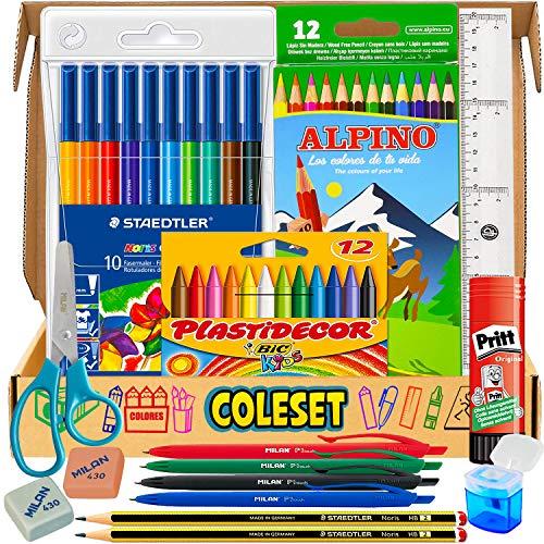 Pack vuelta al cole y Pack material escolar Papeleria - lapices de madera, rotuladores, ceras y accesorios para primaria