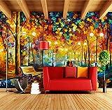 WH-PORP Große 3D Tapetes Wandbild Abstrakt Moderne Wandmalerei Regen Baum Straße Spachtel Ölgemälde Leinwand Wand Home Dekoration-450cmX300cm
