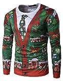 GHYUGR Herren Langarmshirt Weihnachten Bluse Rundhals Weihnachtspullover Langarm T-Shirt Slim Fit Christmas 3D Weihnachtsbaum Druck Herbst Oberteile