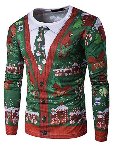 GHYUGR Hombre Camiseta Navidad Manga Larga Ties Santa