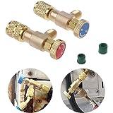 Válvula Seguridad 2 Piezas Fácil operar Sin Fugas Conector Adaptadores rotación Refrigerante llenado automóviles Control acop