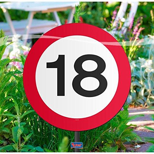 Folat Creative Gartenschild für Geburtstagsparty, Verkehrsschild, 18. Geburt 18