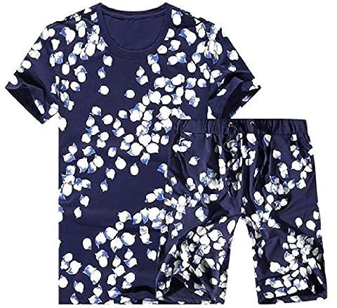 Tootlessly Men's Short Sleeve Fashion Athletic Soft Plush Sweatsuit Set