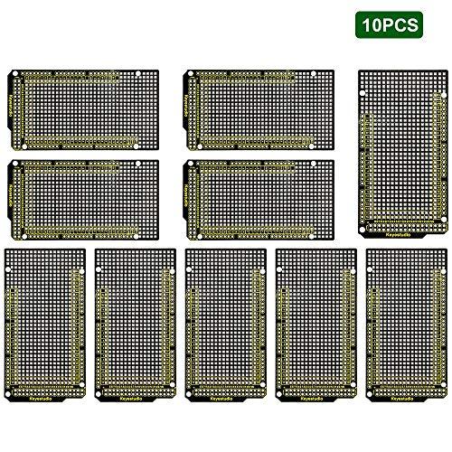 KEYESTUDIO 10 PCS Prototype Board PCB DIY Kit Double Sided PCB Board for Arduino Mega 2560 R3 Mega Pc