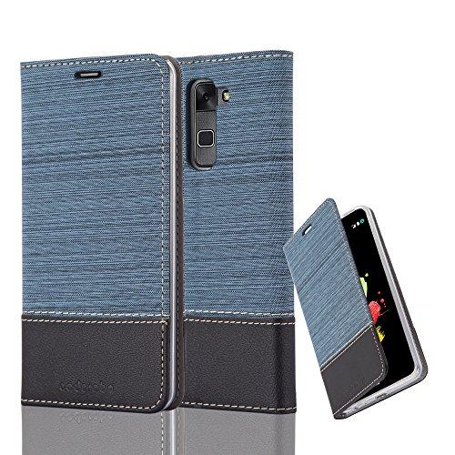 Cadorabo Hülle für LG Stylus 2 - Hülle in DUNKEL BLAU SCHWARZ – Handyhülle mit Standfunktion und Kartenfach im Stoff Design - Case Cover Schutzhülle Etui Tasche Book