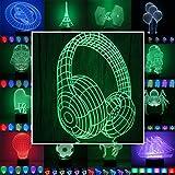3D Lampe 3D Leuchte 3D LED Stimmungslicht. 7 Farben - 81 verschiedene Motive, hier Kopfhörer ca.24x15cm inkl.Sockel - 3D Illusion Dekolicht mit USB Anschluß und 220V USB Netzteil