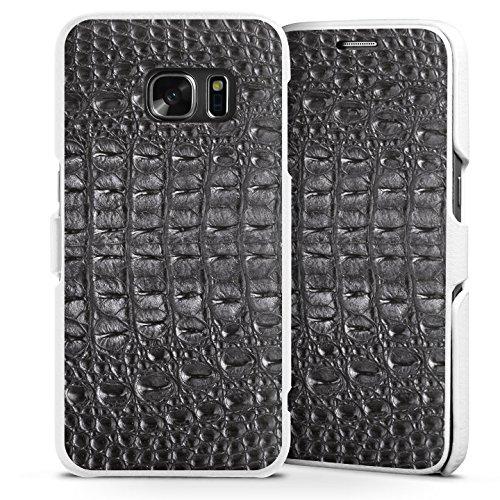 Samsung Galaxy S7 Lederhülle Handyhülle mit Klappe Klappfunktion Flip Case Krokodilhaut Look Schwarz Krokodil Muster (Croc-klappe)