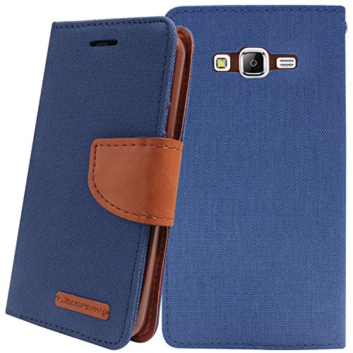 JMD Canvas Diary Wallet Folio Book Cover for Samsung Galaxy ON7 Pro - Blue