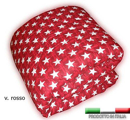 Trapunta invernale in 3 misure prodotta in italia 100% cotone due piazze una piazza piazza e mezza matrimoniale singola - fantasia moderna bandiere america usa stelle rossa blu beige rosso