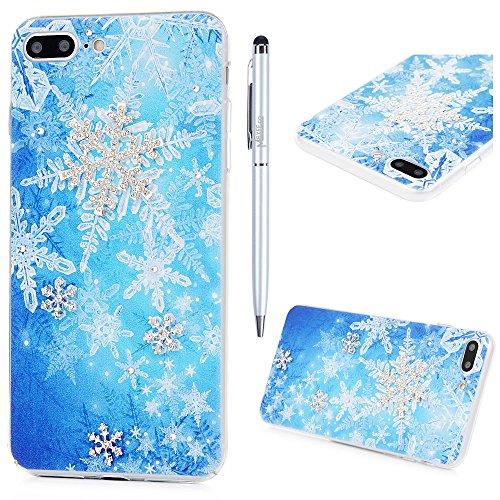 Custodia iPhone 7 Plus,Trasparente Fatto a mano 3D Glitter Bling Strass Cover Rigida Plastica Hard - MAXFE.CO Case Cristallo Diamante Plastica PC Duro Protettiva - fiocco di neve