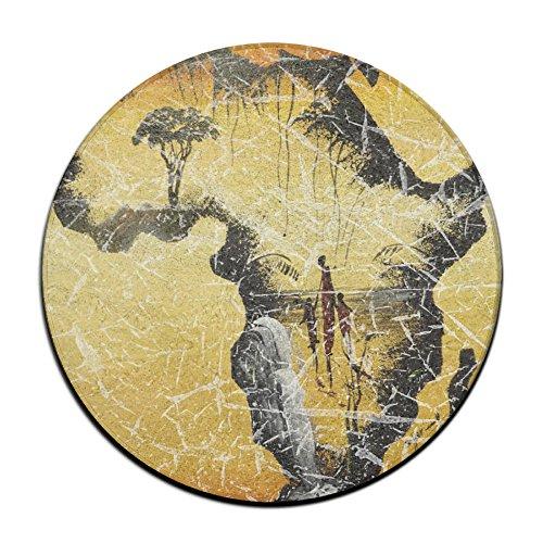 Envejecido Beautiful África mujer africana y árboles antideslizante alfombrillas Circular alfombra alfombrillas comedor dormitorio alfombra Felpudo 23.6pulgadas
