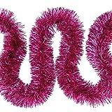 Weihnachts Deko7,5cm Feinschnitt Lametta Girlande 3x 2m (6m) – Pink