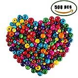 ManYee Bunte Holzperlen 500 Pcs Bunt Kleine Holzperlen Set für Kinder 6mm 8mm 10mm 12mm 14mm Holz Perlen zum Basteln vom Armband Kette Fädeln