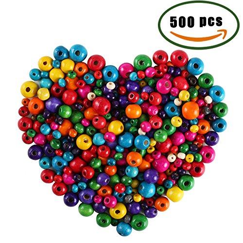 len 500 Pcs Bunt Kleine Holzperlen Set für Kinder 6mm 8mm 10mm 12mm 14mm Holz Perlen Zum Basteln vom Armband Kette Fädeln (Kleine Rote Halloween Kostüme)