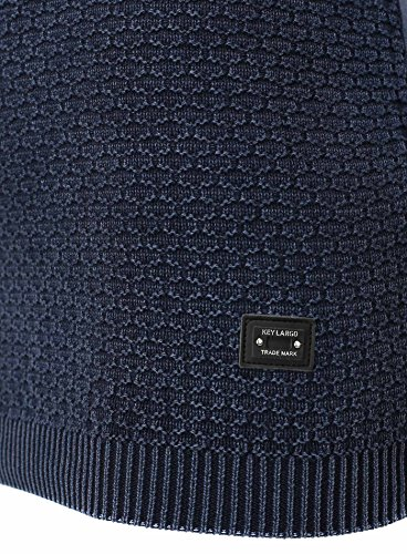 Key Largo felpa da uomo Movie motivo maglione oversize Basic Hipster, cuciture decorative leggero combinabile senza stampa blu navy