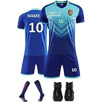 Personalised Football Shirt Mens Women with Name Number Team Logo Custom Football Kit for Kids Boys Adults Sock Shinpads