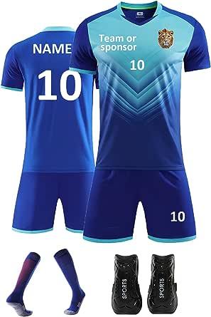 PersonalisedFootball Shirt Mens Women with Name Number Team Logo Custom Football Kit for Kids Boys Adults Sock Shinpads