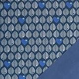 by Graziela Stoff Softshell Blätter Jeansblau | 50cm x 140