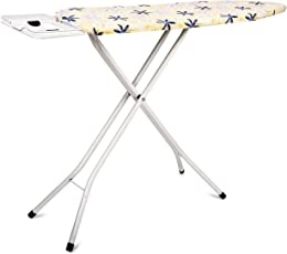 PAffy Premium Metal Ironing Board Foldable with Grilled Iron Holder, White