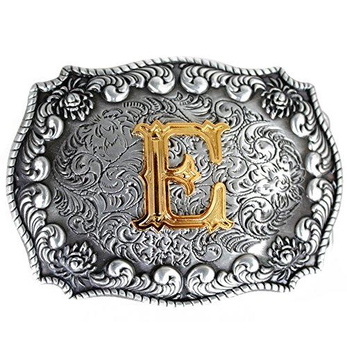 Bai You Mei Cartas iniciales de estilo occidental vaquero de oro grandes hebillas de cinturón E