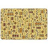 Tapis de salle de bain tapis, Tribal, Art africain avec des formes originales originales, icônes culturelles abstraites, conception primitive, gingembre brun sable, microfibre de flanelle