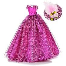ASIV Premium Hecho Mano Moda Brillante Vestidos de Novia de Princesa Ropa Vestido para Barbie con Sombrero de Plumas Púrpura
