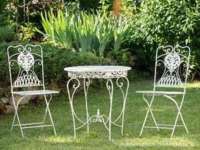 Gartentisch Und 2 StÜhle Eisen Schmiedeeisen Antik Stil GartenmÖbel Weiss Creme