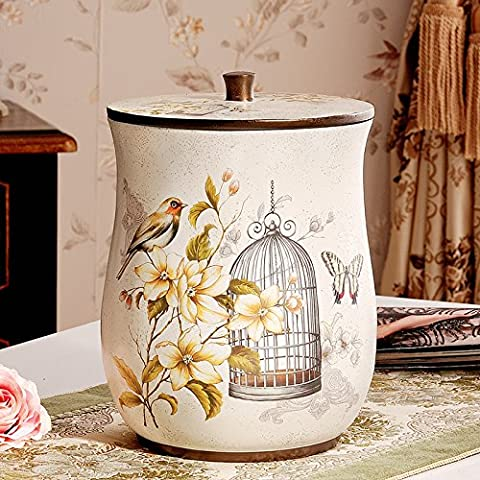 ZnzbztAmerican retro idyllic litter bins with cover home paper basket living room bedrooms are small, creative continental luxury with lid, rice white) - Butterfly birds.