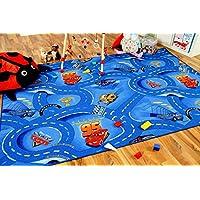Alfombra carretera infantil de juegos Disney Cars azul - 17 tamaños