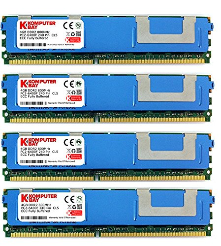 Komputerbay 16GB (4X4GB) DDR2 PC2-6400F 800MHz ECC Fully Buffered FB-DIMM (240 PIN) 16GB w / Wärmeverteilern