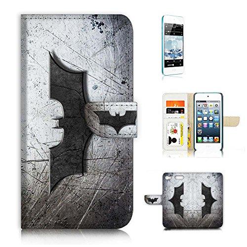 (für iPod Touch 6/iTouch 6) Wallet Case Cover & Displayschutzfolie Bundle. A6324Batman