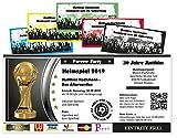 Unser-Festtag Fußballticket Heimspiel Geburtstagseinladung für Erwachsene lustig witzig - mit Wunschtext - 5 Karten