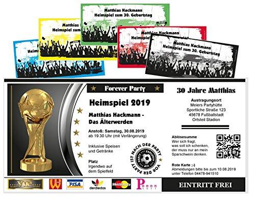 Unser-Festtag Fußballticket Heimspiel Einladungen zum Geburtstag, jedes Alter möglich, lustige, witzige Karten - 80 Karten