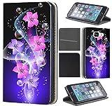 CoverHeld Hülle für Samsung Galaxy S6 Edge G925 Premium Flipcover Schutzhülle aus Kunstleder Flip Case Motiv (1445 Blume Abstract Rosa Pink Blau Schwarz)