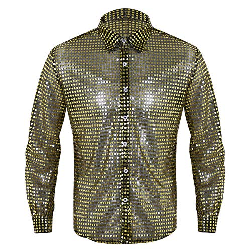 Kostüm Shirt Dude Disco Erwachsene Für - inhzoy Herren Disco-Shirt mit glänzenden Pailletten, Lange Ärmel, Button-Down-Dude, Party, Clubwear Gr. M, Gold