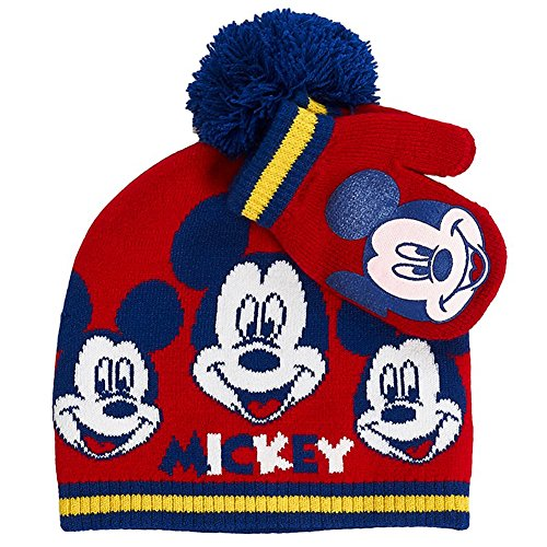 Mickey Mouse Baby Toddler Boys Beanie Hat & Mitten Set