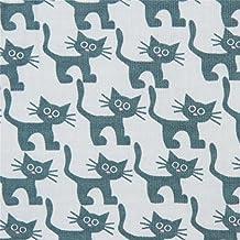 Tissu bio Copenhagen Print Factory vert pâle avec d'adorables chats