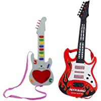 ANG® Combo of Musical Instrument Red Guitar Toy with Mini Musical Guitar with Sound & 3D Lighting for Kids