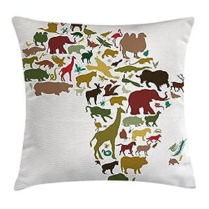 Wildlife – Funda de cojín decorativa, diseño de mapa africano de continentes con animales locales de la diversidad, camel de león en el diseño de ecuador, funda de almohada decorativa, cuadrada, 45,7 x 45,7 cm, multicolor