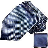 Paul Malone XL Krawatten Set blau kariert 100% Seidenkrawatte (Überlänge 165cm)+ Einstecktuch