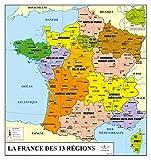 Carte de France des régions administratives - souple | plastifiée | écriture effaçable à sec
