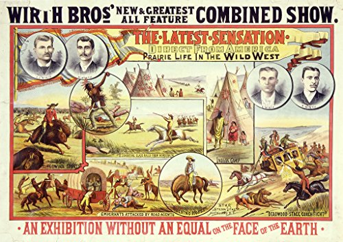 """POSTER A3 New Zealand Wirth Bro[ther]s' new & greatest all feature combined show the latest sensation, direct from America; prairie life in the wild west. """"Star"""" Steam litho., Auckland, N.Z."""