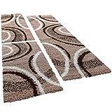 Shaggy Läufer Bettumrandung Teppich Vigo Gemustert Versch. Farben 3er Set, Farbe:braun, Läuferset Größen:2 mal 70x140 1 mal 70x250 cm