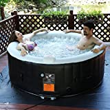 COSTWAY Whirlpool Aufblasbar, Massage Spa Pool √aufblasbar √Heizfunktion √4 Personen √In-Outdoor √Komplettset√Ø180cm√rund