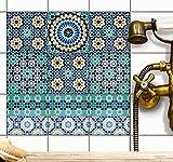 creatisto Dekor-Fliesen Fliesensticker Fliesenfolie Klebefliesen Fliesenaufkleber | Aufkleber Folie Sticker Bad Fliesen Küche Deko | 20x20 cm - Motiv Tuerkisches Mosaik - 27 Stück