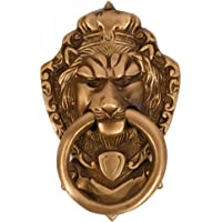 Collectible India Brass Victorian Style Door Knocker Antique Lion Face Pull Ring Knob Handle, 5.8 x 3.8 Inches, Golden