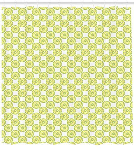 tgyew Fruits Shower Curtain, Citrus Pattern Lemonade Juice Summer Fresh Smoothie Organic Vitamin Design, Cloth Fabric Bathroom Decor Set with Hooks, 66x72 inches, Lime Green Yellow